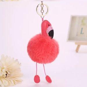🎀NWT Orange Flamingo Pom Pom Faux Leather And Faux Fur Charm Key Chain
